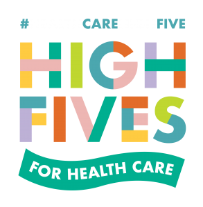 High Fives for Health Care logo on dark background